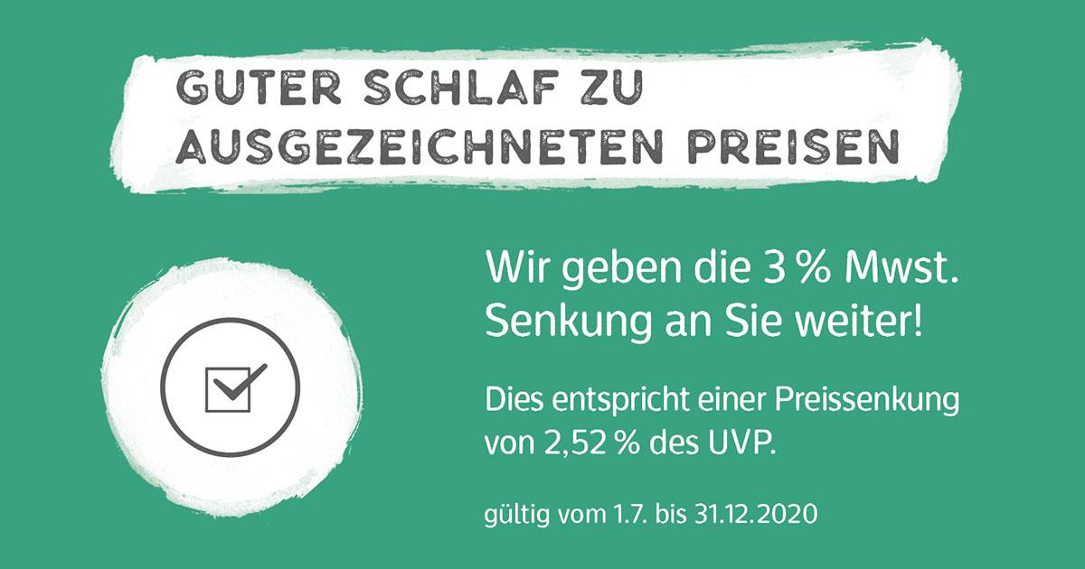 Wir geben die Mehrwertsteuersenkung an Sie weiter - Betten Neemann Bremerhaven
